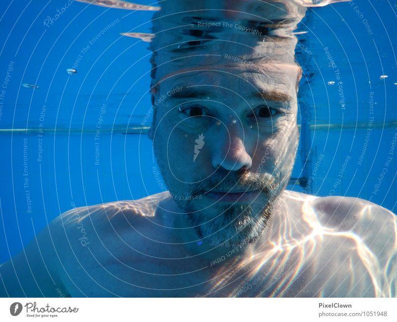 Wassermann Mensch Ferien & Urlaub & Reisen blau Meer Freude Erwachsene Gesicht Stil Sport Glück Schwimmen & Baden Kopf Lifestyle maskulin Tourismus