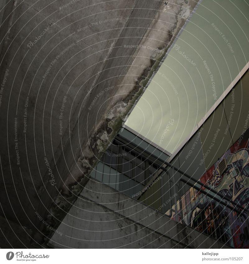 < Hochhaus Balkon Fassade Fenster Wohnanlage Stadt rund Pastellton Beton Etage Selbstmörder Raum Mieter Leben live Ghetto Sozialer Brennpunkt Feuerleiter