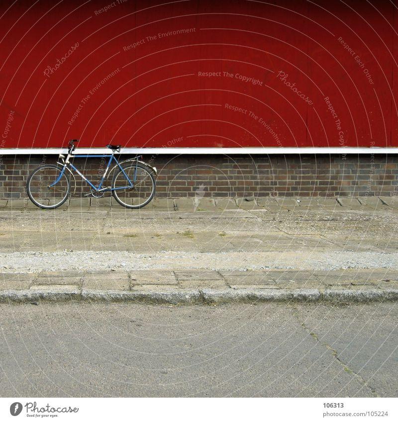MADE IN GDR Motorsport Fahrrad Stadt Mauer Wand Wege & Pfade Metall Rost alt fahren trashig blau rot weiß Kraft verschlissen graphisch Sozialismus Osten