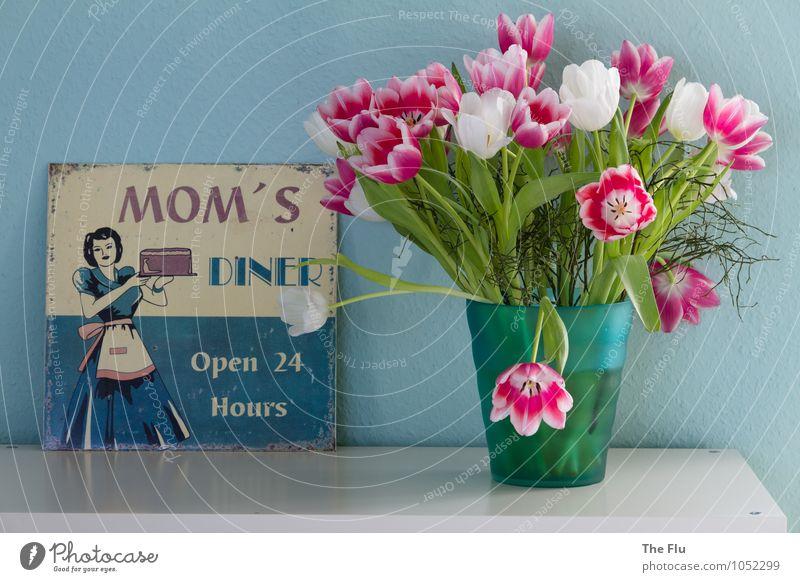 Mother's Finest Kuchen Kaffeetrinken Gesunde Ernährung Küche Muttertag Mensch feminin Erwachsene 1 30-45 Jahre Blume Tulpe Blüte Rock schwarzhaarig Werbeschild