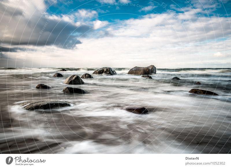 Wild Landschaft Wasser Himmel Wolken Wetter Schönes Wetter Wind Wellen Küste Strand Ostsee blau braun schwarz weiß Mecklenburg-Vorpommern Rügen Horizont Stein