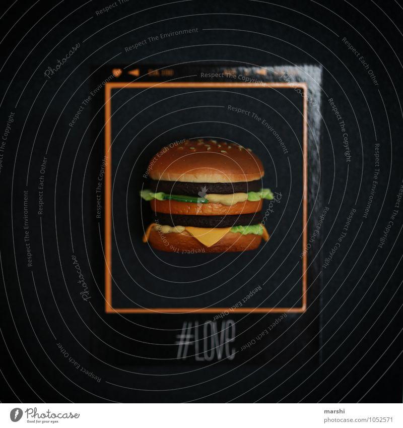 # BURGERLIEBE # Lebensmittel Ernährung Essen Fastfood Gefühle Stimmung hashtag Hamburger Cheeseburger lecker Leidenschaft Appetit & Hunger Polaroid