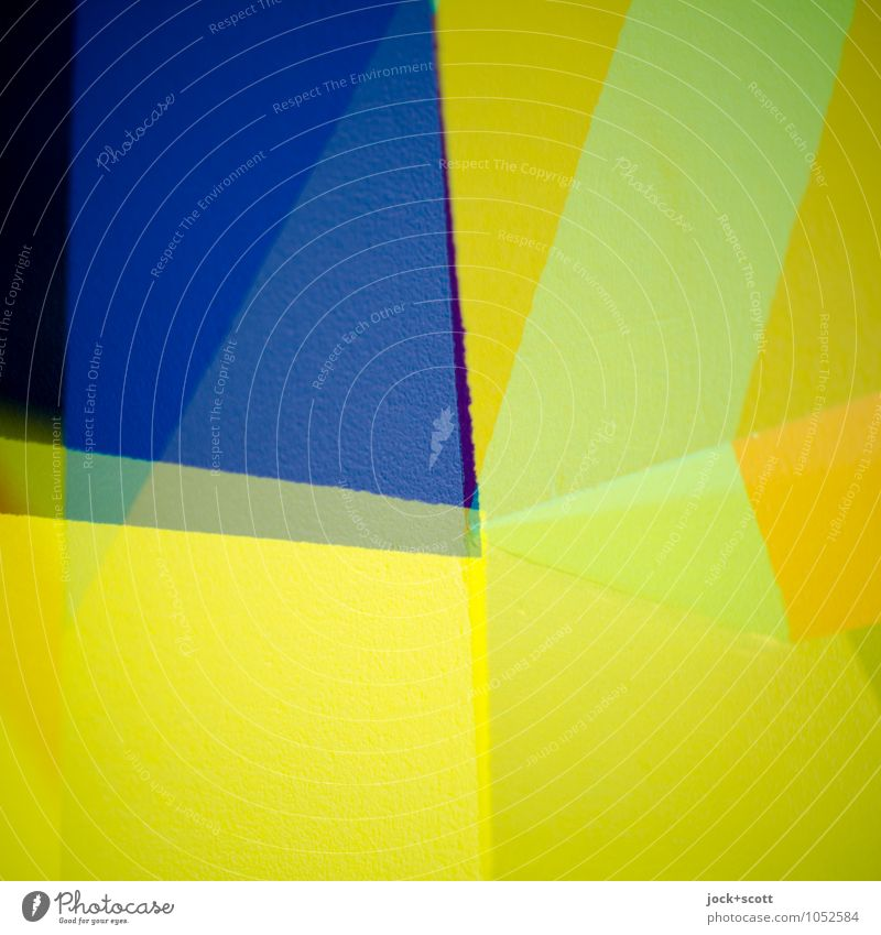 salopp Design Grafik u. Illustration Dekoration & Verzierung Strukturen & Formen modern blau gelb Mittelpunkt Doppelbelichtung Viertel Spalte Verschiedenheit
