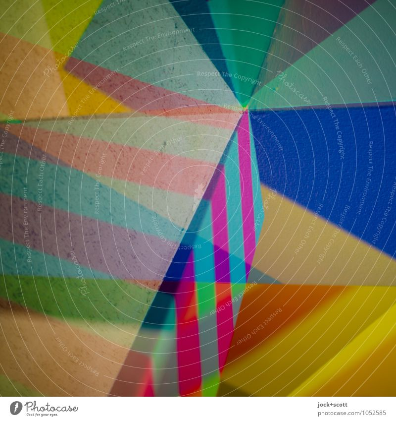 Vorsprung Farbraum Stil Design Grafik u. Illustration Dekoration & Verzierung Streifen Ecke Strukturen & Formen eckig trendy einzigartig Einigkeit innovativ