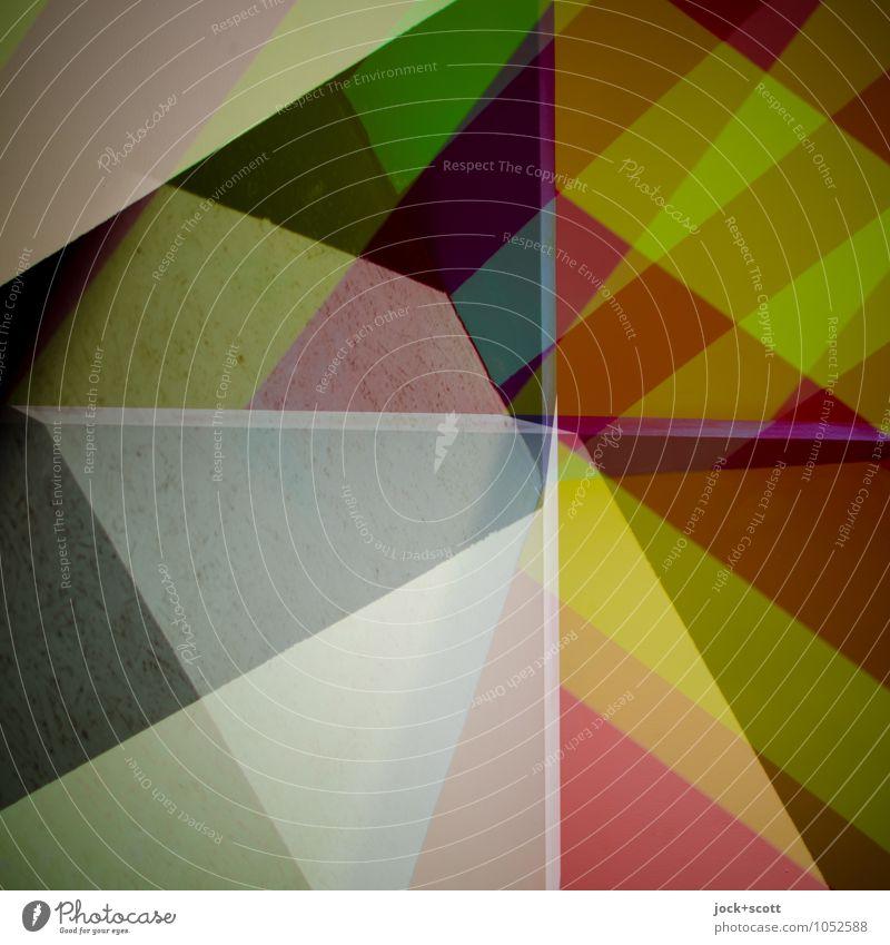 Summe Farbraum Stil Design Grafik u. Illustration Dekoration & Verzierung Streifen Netzwerk Ecke Strukturen & Formen Kreuz eckig modern viele Einigkeit