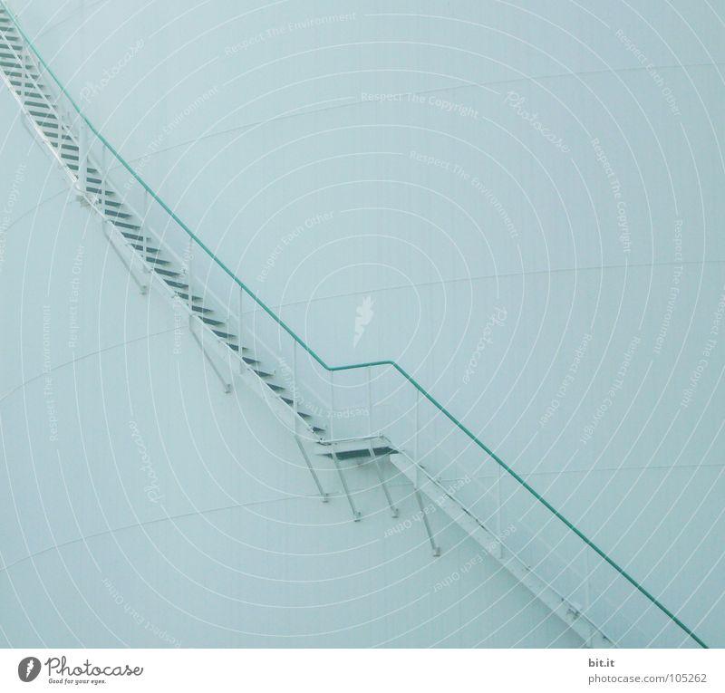 DER LAUF DER DINGE... Fabrik Industrie Leiter Fortschritt Zukunft Turm Gebäude Treppe Metall Stahl Linie blau Behälter u. Gefäße hell-blau aufsteigen