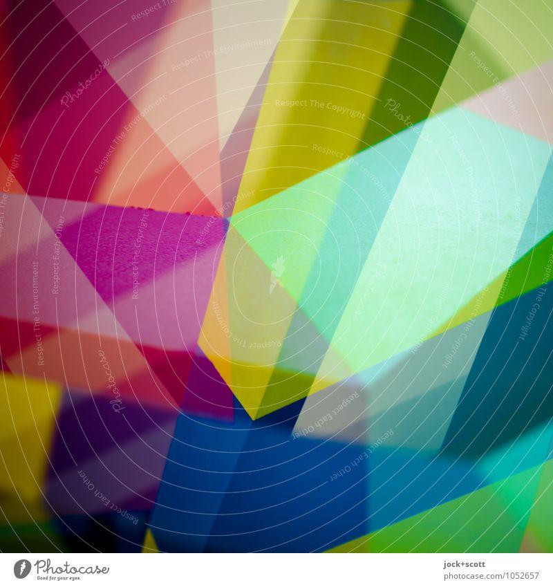 Frequenz Farbraum Design Dekoration & Verzierung Netzwerk dreidimensional Strukturen & Formen eckig trendy viele Stimmung Willensstärke Einigkeit Inspiration