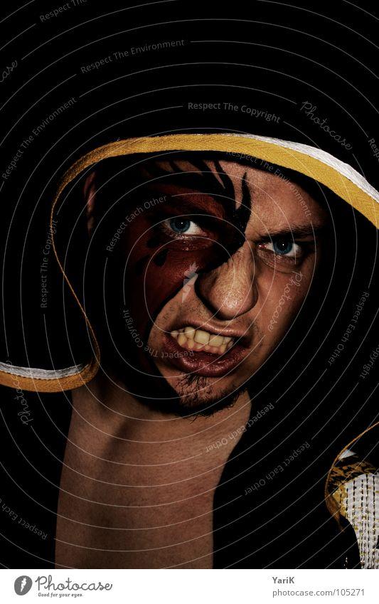 ready Mann rot schwarz Gesicht Auge gelb dunkel gefährlich Zähne Maske Wut Jacke Schminke böse Lautsprecher kämpfen