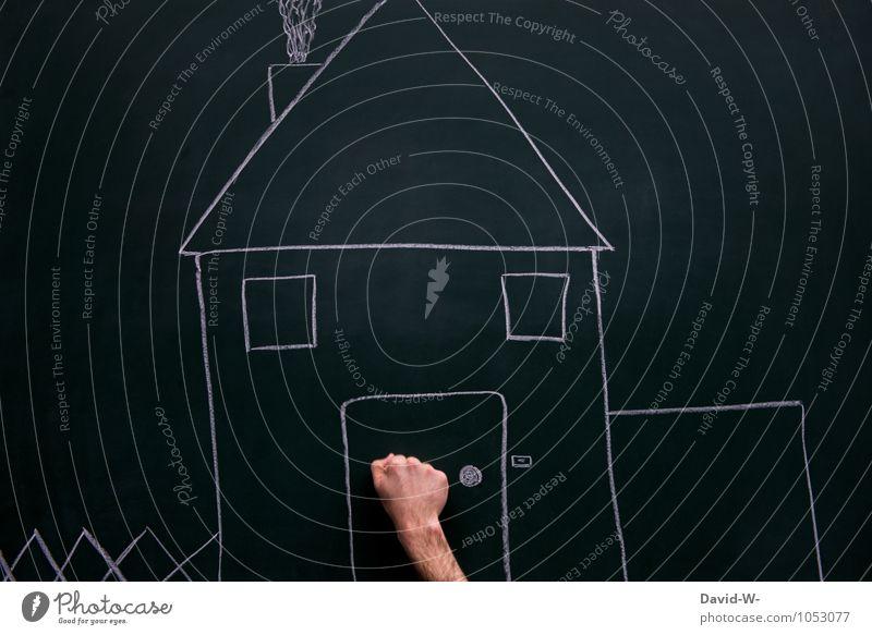 klopf klopf Reichtum sparen Häusliches Leben Wohnung Haus Traumhaus Hausbau Umzug (Wohnungswechsel) Erwachsene Hand Einfamilienhaus Hütte bauen Beginn Zukunft