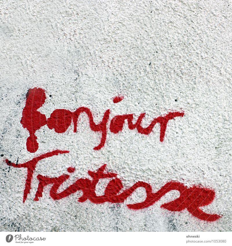 Monday Morning Mauer Wand Fassade Zeichen Schriftzeichen Graffiti Sprichwort Stadt rot Müdigkeit Trauer Straßenkunst trist Farbfoto Gedeckte Farben