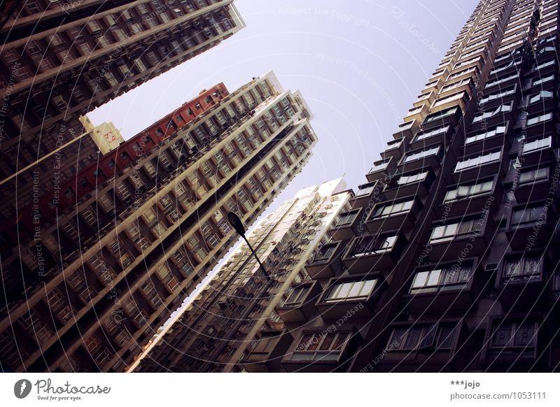 sog. Haus Himmel Stadt Skyline überbevölkert Hochhaus Bauwerk Gebäude Architektur Fassade Fenster Beton hoch modern Platzangst Perspektive Asien Betonklotz