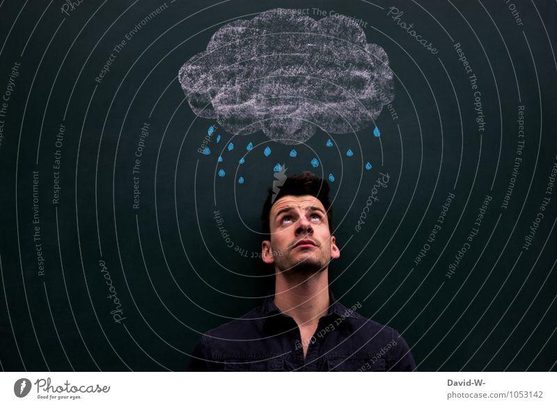 reg[net] dich nicht auf Mensch Jugendliche Wolken Junger Mann Gesundheit oben maskulin träumen Regen nass beobachten Schutz trocken Krankheit Körperpflege