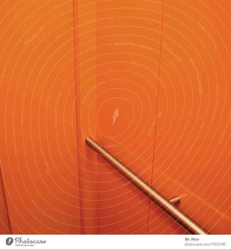 oranje boven Fahrstuhl orange Raum Architektur Wand Beleuchtung Griff Metall modern grell Design Kunstlicht Niederlande Neonlicht knallig graphisch