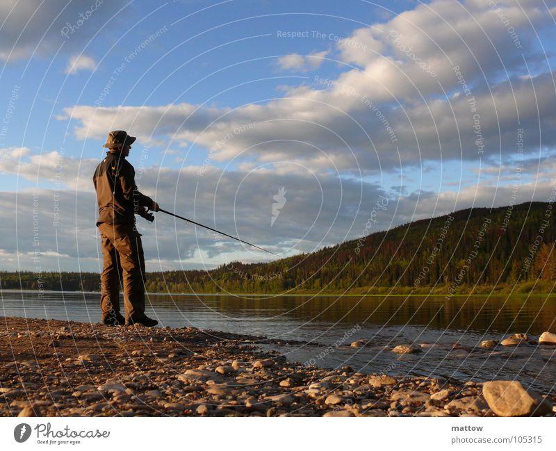 Big Fish Angelrute Angeln See Sonnenuntergang Schnur Ernährung Strand Kies Freizeit & Hobby Wasser Fisch Natur Lebensmittel Küste