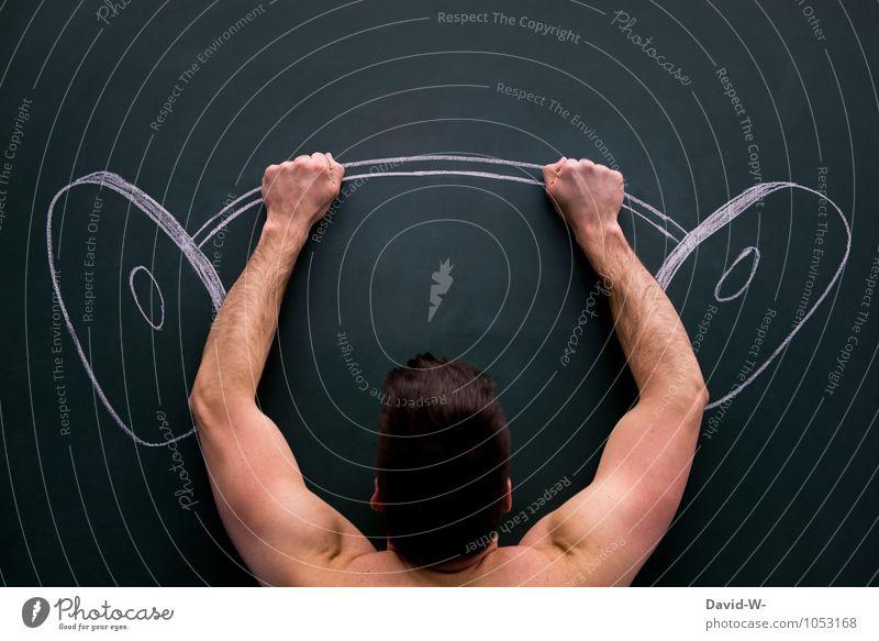 MIT ALLER KRAFT Mensch Jugendliche nackt Erotik Junger Mann Sport maskulin Freizeit & Hobby Zufriedenheit Kraft Körper Erfolg Arme Fitness sportlich eckig
