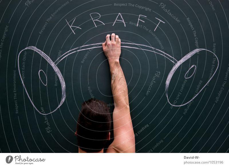 Kraftprotz schön Erotik Leben Sport Kunst Kopf maskulin Arme Ernährung Fitness Coolness stark Tafel Sport-Training Sportler Kreide