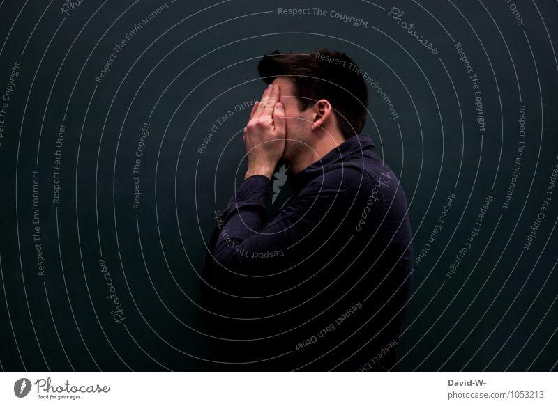 Ich sehe schwarz Mensch Mann dunkel Erwachsene Leben Traurigkeit Gefühle Stimmung Schule maskulin geschlossen Studium lernen Trauer Bildung