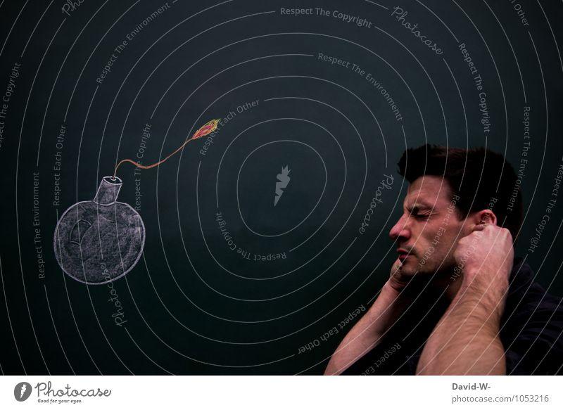 gleich knallt es Mensch Kunst Kopf Schule maskulin gefährlich lernen Schutz Todesangst Ohr Stress Kontrolle Tafel Kreide Prüfung & Examen Lehrer