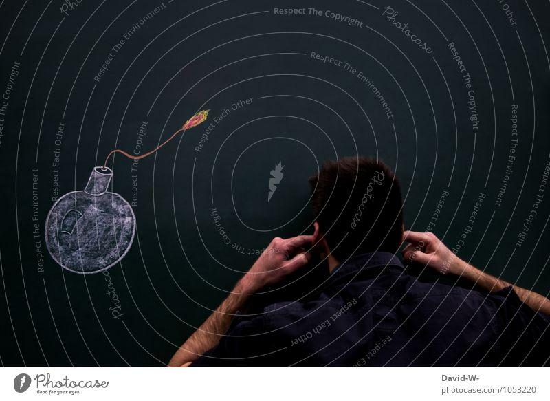 explosiv Tafel maskulin Ohr Angst gefährlich Gewalt Verbote laut Ohrschützer zuhalten sprengen Explosion explodieren Zündschnur Bombe bombensicher Bombenangriff