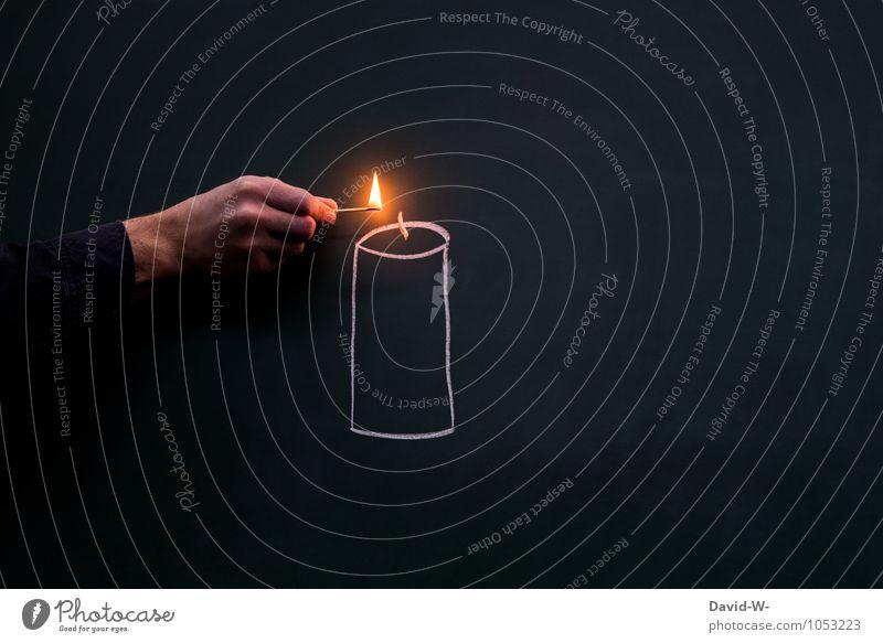 Übertragung Entzündung Weihnachten & Advent Hand Glück Feste & Feiern hell maskulin elegant Geburtstag Kreativität Warmherzigkeit Romantik Trauer Kerze heiß