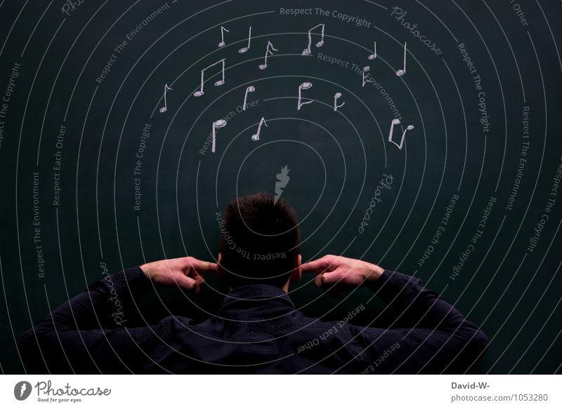 immer wieder der selbe Song Party Musik lernen Tafel Studium Student Mensch maskulin Mann Erwachsene Ohr Finger Künstler Musik hören Musiker Musiknoten Stimmung