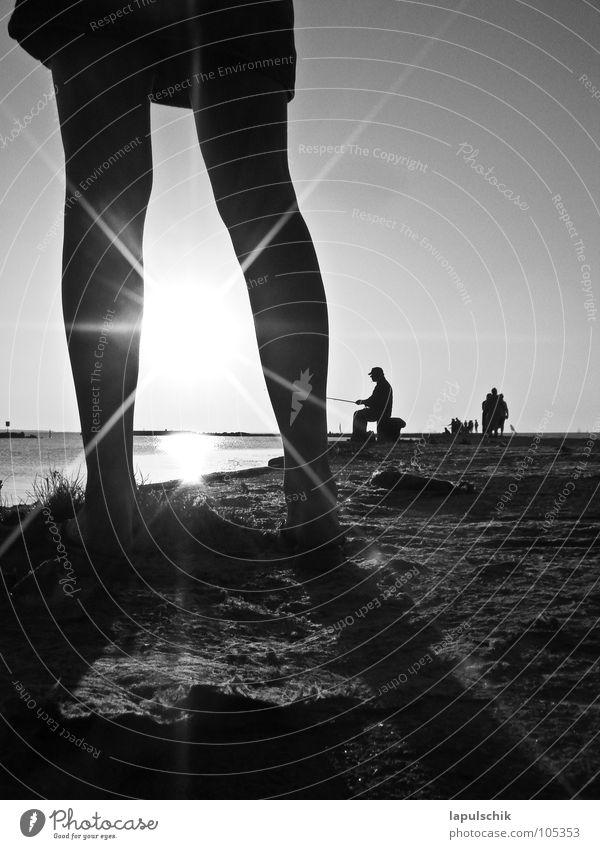 angeln Frau Mensch Wasser Himmel Sonne Ferien & Urlaub & Reisen ruhig Erholung Beine Europa Freizeit & Hobby Anlegestelle Angler Estland