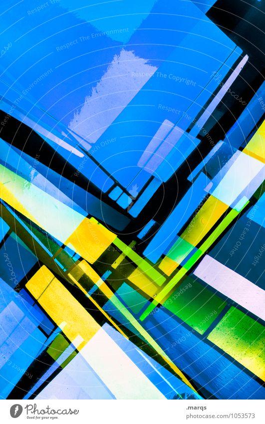 B/Y Lifestyle elegant Stil Design Glas Linie Streifen außergewöhnlich Coolness einzigartig modern verrückt blau gelb schwarz Farbe Perspektive Irritation