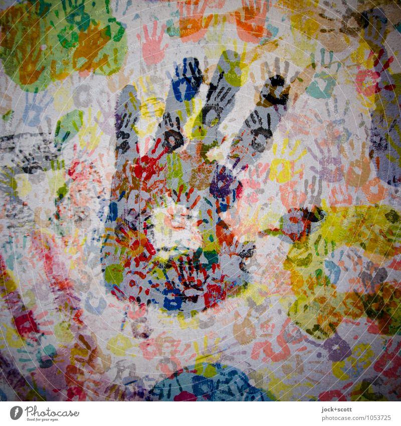 Hand drauf Jugendkultur Grafik u. Illustration Abdruck viele Menschlichkeit komplex Kreativität Doppelbelichtung Illusion Reaktionen u. Effekte Therapie