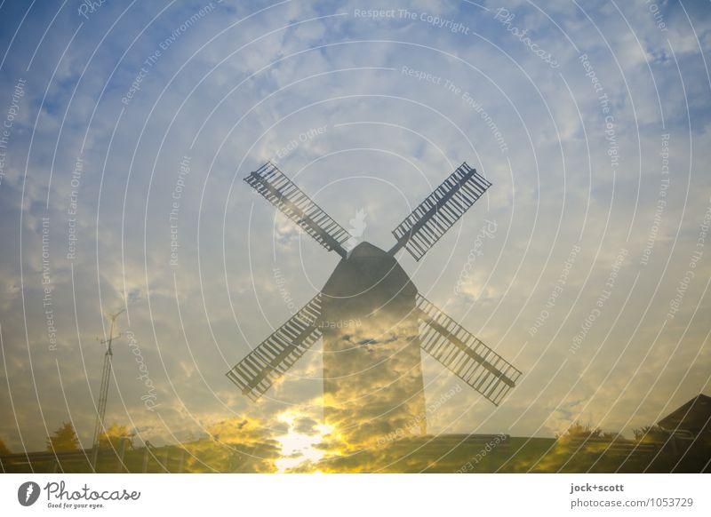 Lichtmühle Sonne Wolken Ferne Wärme Leben Hintergrundbild Religion & Glaube leuchten Idylle gold fantastisch Beginn Schönes Wetter Romantik Wandel & Veränderung Vergangenheit