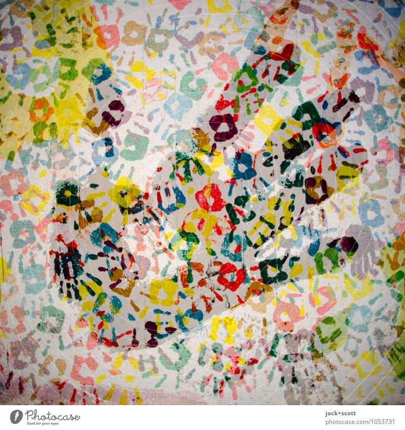 Hand für Vielfalt Straßenkunst Abdruck außergewöhnlich Zusammensein einzigartig viele Identität komplex Kreativität Doppelbelichtung Illusion