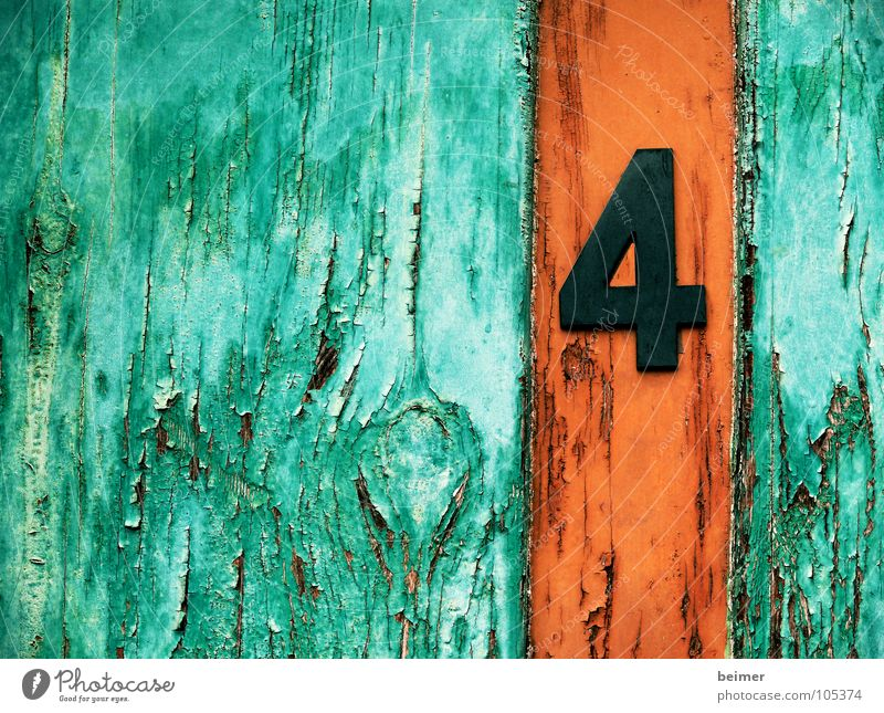 Nummer4 alt grün Farbe Holz braun orange Tür Ziffern & Zahlen 4 verfallen Symbole & Metaphern