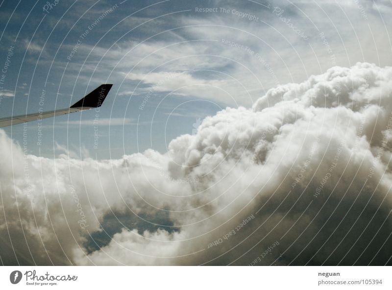 ueber den wolken Flugzeug Maschine Wolken weich kalt weiß Luft Luftverkehr Ferien & Urlaub & Reisen Flügel Metall Schnee