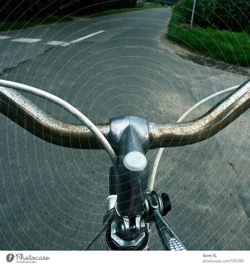 that's the way Fahrrad Asphalt unterwegs Fahrradtour Straßenverkehr fahren Fahrradfahren langsam Zeitlupe führen Motorradfahrer Ferien & Urlaub & Reisen stehen
