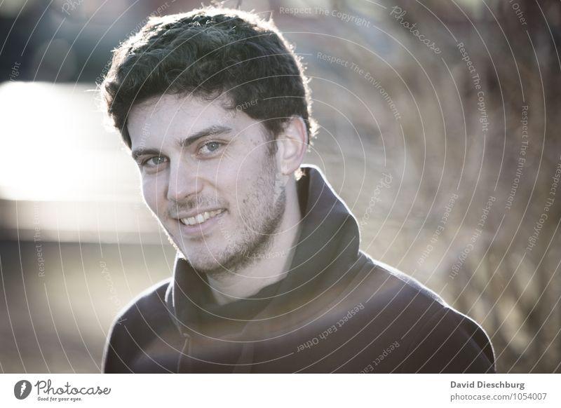 Philipp II maskulin Junger Mann Jugendliche Erwachsene Gesicht 1 Mensch 18-30 Jahre Frühling Herbst Pullover brünett Locken Gefühle Freude Glück Fröhlichkeit