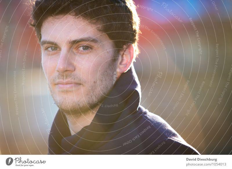 Philipp Mensch Jugendliche Mann blau weiß ruhig Junger Mann 18-30 Jahre schwarz gelb Erwachsene Gesicht Herbst Frühling Kopf maskulin