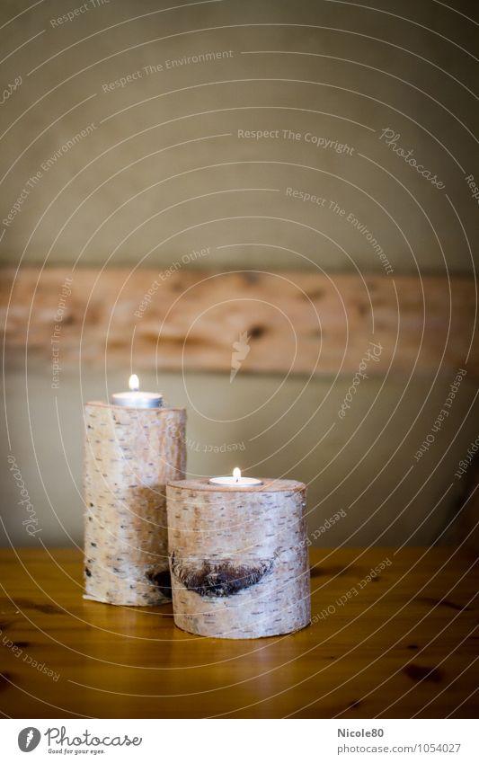 Basteltipp mit Birkenholz Holz Warmherzigkeit Basteln Kerze Teelicht Dekoration & Verzierung rustikal Wärme Fachwerkfassade Leuchter Farbfoto Innenaufnahme