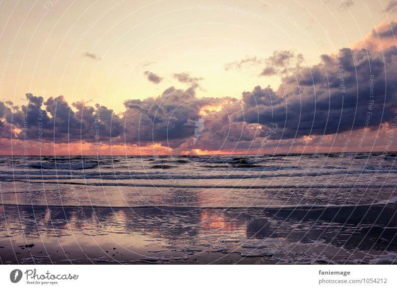Gemälde Umwelt Natur Landschaft Urelemente Wasser Himmel Wolken Nachthimmel Horizont Sonnenaufgang Sonnenuntergang Sonnenlicht Sommer Wellen Küste Strand Ostsee