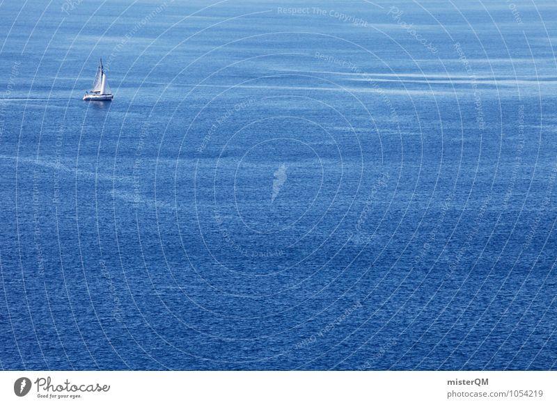 Im Tal. Kunst Abenteuer ästhetisch Zufriedenheit Wasserfahrzeug Bootsfahrt Meer Meerwasser Meerstraße Ferne Meeresspiegel blau Sommer Sommerurlaub Farbfoto
