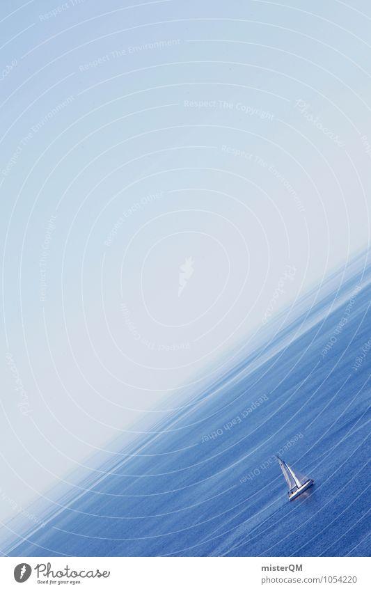 Am Berg. blau Sommer Meer Ferne Kunst Wasserfahrzeug Perspektive verrückt ästhetisch Neigung Sommerurlaub aufwärts Segeln Kunstwerk Bootsfahrt Meerwasser