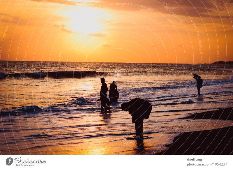 menschen am strand. Mensch Ferien & Urlaub & Reisen Meer Erholung ruhig Freude Strand schwarz Wärme gelb feminin Familie & Verwandtschaft Freiheit Tourismus