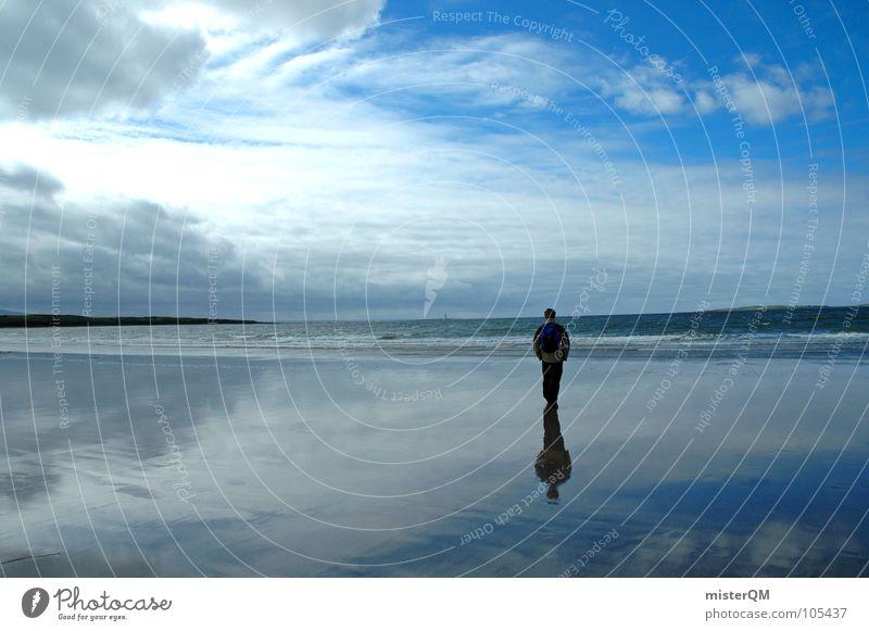 It's within walking distance. Himmel Licht weiß Ferne Wolken Meer Einsamkeit Mann Spiegel Reflexion & Spiegelung unbequem Denken Gedanke Hälfte Hintergrundbild