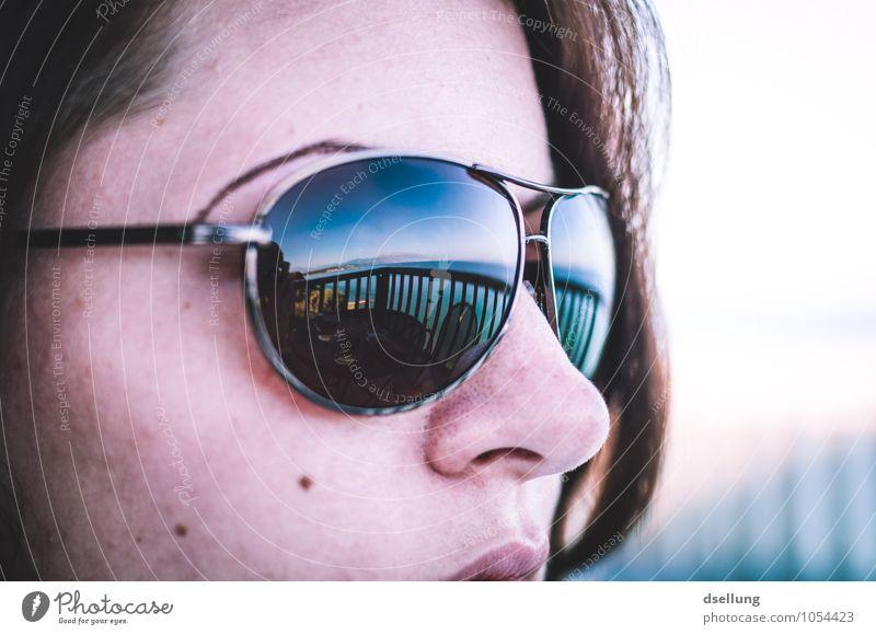 meerblick. Mensch Ferien & Urlaub & Reisen Jugendliche blau schön Junge Frau weiß Sonne Meer Erholung Ferne Strand 18-30 Jahre Gesicht Erwachsene Auge