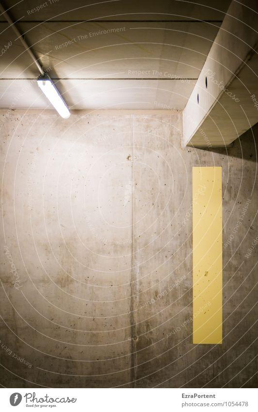 Beton (illuminiert) Dekoration & Verzierung Stadt Haus Parkhaus Bauwerk Gebäude Architektur Mauer Wand Fassade Zeichen Linie Streifen gelb grau Beleuchtung