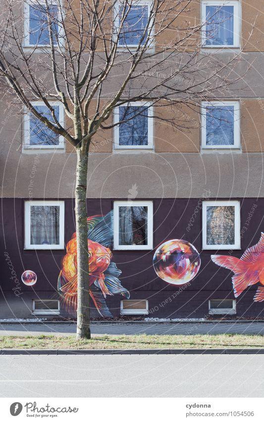 Lebensraum Stadt Baum Haus Winter Fenster Wand Architektur Graffiti Mauer Freiheit Lifestyle Fassade Stadtleben träumen ästhetisch
