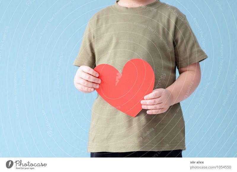 Heimkommen | mit Liebe erwartet Mensch maskulin Kind Kleinkind Junge Geschwister Bruder Kindheit Leben Hand Oberkörper 1 3-8 Jahre positiv blau rot
