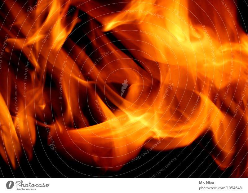 kraft | feuer Feuer heiß gelb rot Nacht Feste & Feiern Urelemente Kraft Lagerfeuerstimmung Kaminfeuer Wärme Grillsaison feurig brennen Kohlendioxid Feuerwehr