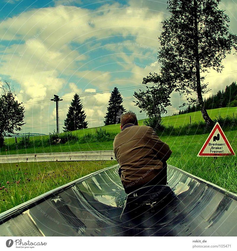 Nicht bremsen, gib Gummi III blau grün Sommer Freude braun Freizeit & Hobby sitzen Geschwindigkeit Rasen Ziel fahren Eile stoppen Kurve abwärts steil