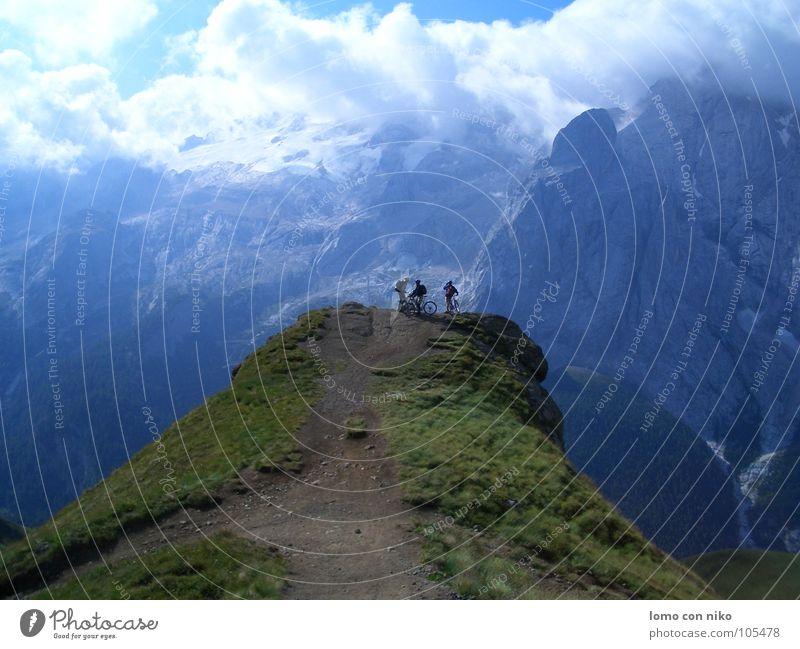 ausblick Marmolata Mountainbike Aussicht Wolken Am Rand Berge u. Gebirge Himmel Alpen Farbe