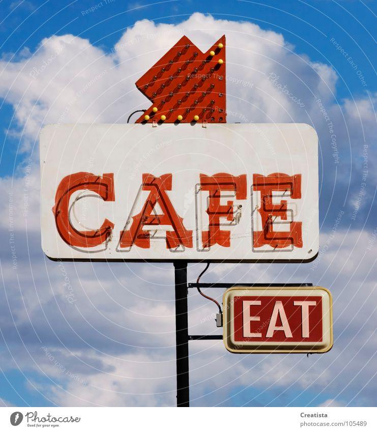 Cafe Eat Café Restaurant Ernährung Getränk Himmel Neonlicht Kumulus Hinweisschild Werbeschild Leuchtreklame Tag Einladung Pfeil Freisteller Englisch Typographie