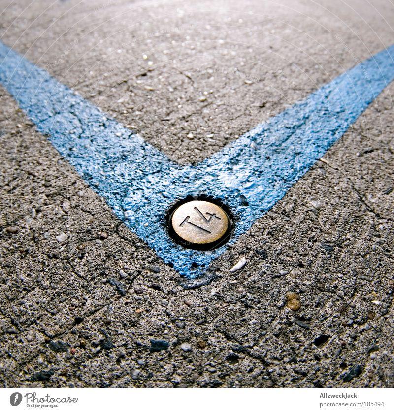 auf den Spuren des Zett blau Straße Linie Metall Schilder & Markierungen Ecke Kommunizieren Bodenbelag Pfeil Richtung Bürgersteig Verkehrswege abwärts Hecke zeigen Fuge